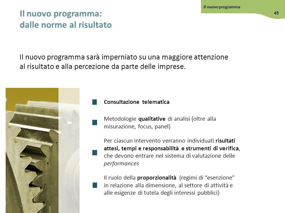 Il nuovo programma: dalle norme al risultato