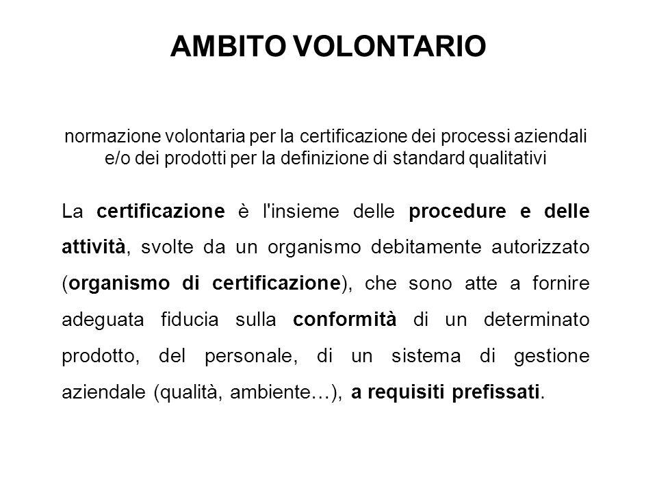 AMBITO VOLONTARIO normazione volontaria per la certificazione dei processi aziendali e/o dei prodotti per la definizione di standard qualitativi.
