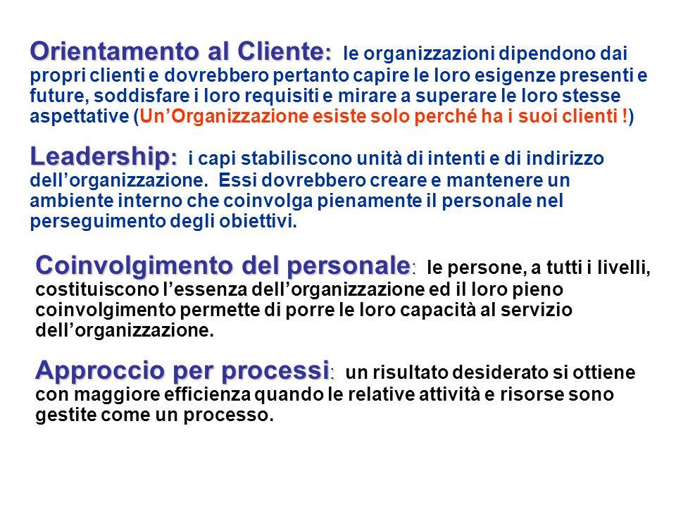 Orientamento al Cliente: le organizzazioni dipendono dai propri clienti e dovrebbero pertanto capire le loro esigenze presenti e future, soddisfare i loro requisiti e mirare a superare le loro stesse aspettative (Un'Organizzazione esiste solo perché ha i suoi clienti !)