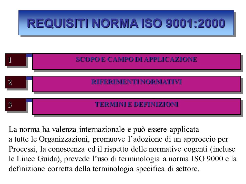SCOPO E CAMPO DI APPLICAZIONE RIFERIMENTI NORMATIVI