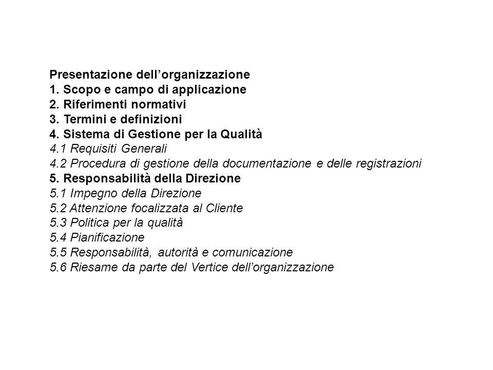 Presentazione dell'organizzazione