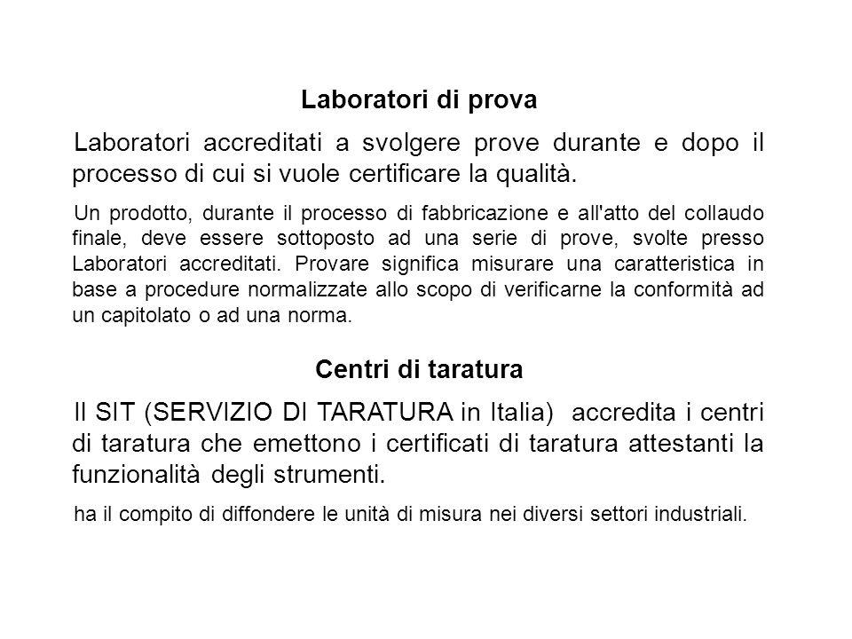 Laboratori di prova Centri di taratura