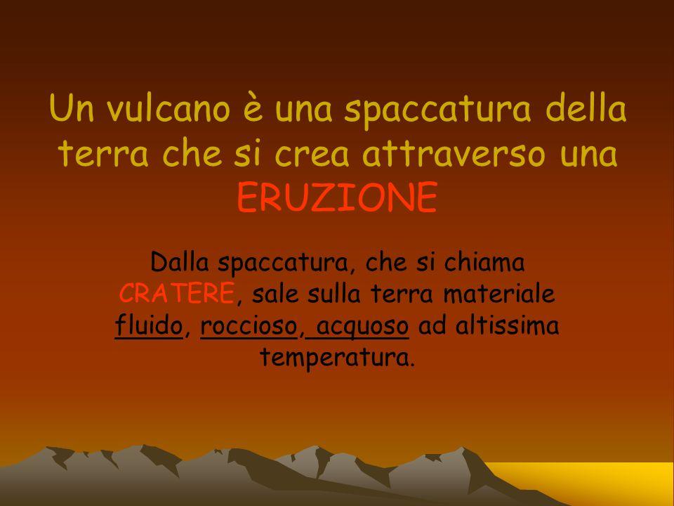 Un vulcano è una spaccatura della terra che si crea attraverso una ERUZIONE