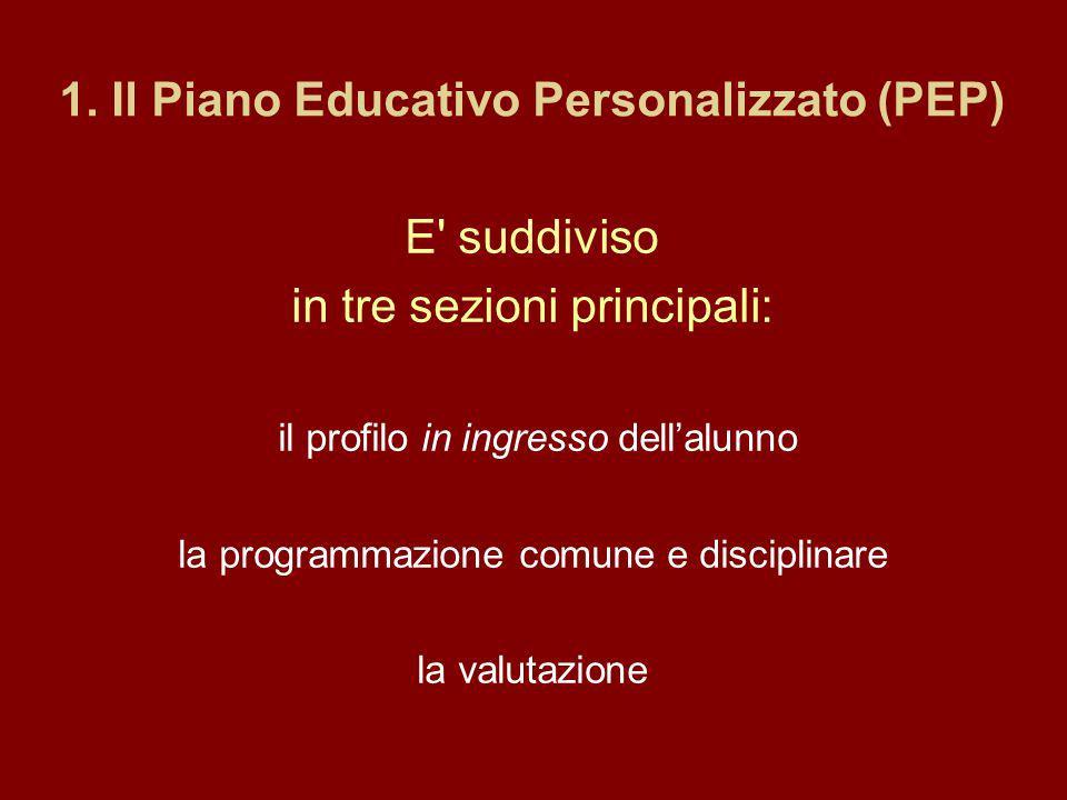1. Il Piano Educativo Personalizzato (PEP)
