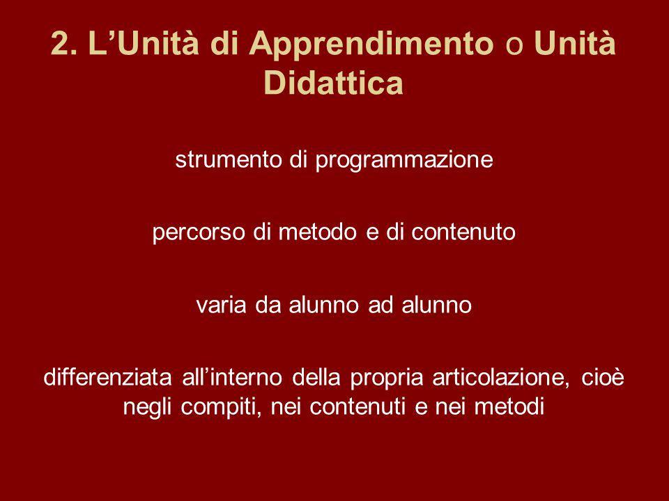 2. L'Unità di Apprendimento o Unità Didattica