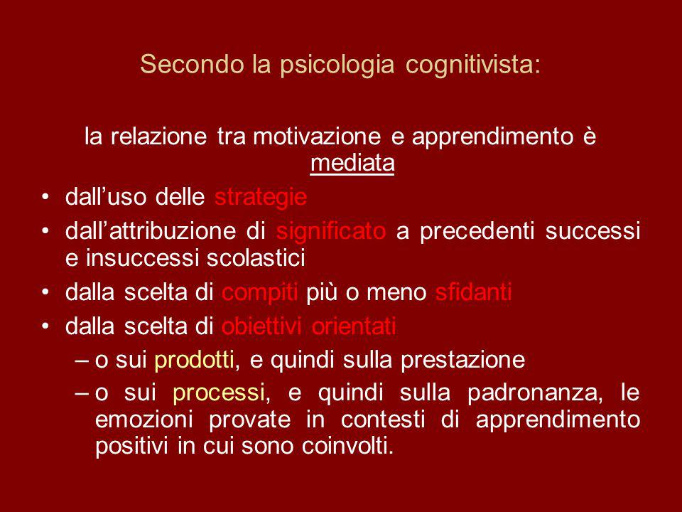 Secondo la psicologia cognitivista: