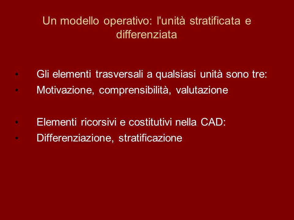 Un modello operativo: l unità stratificata e differenziata