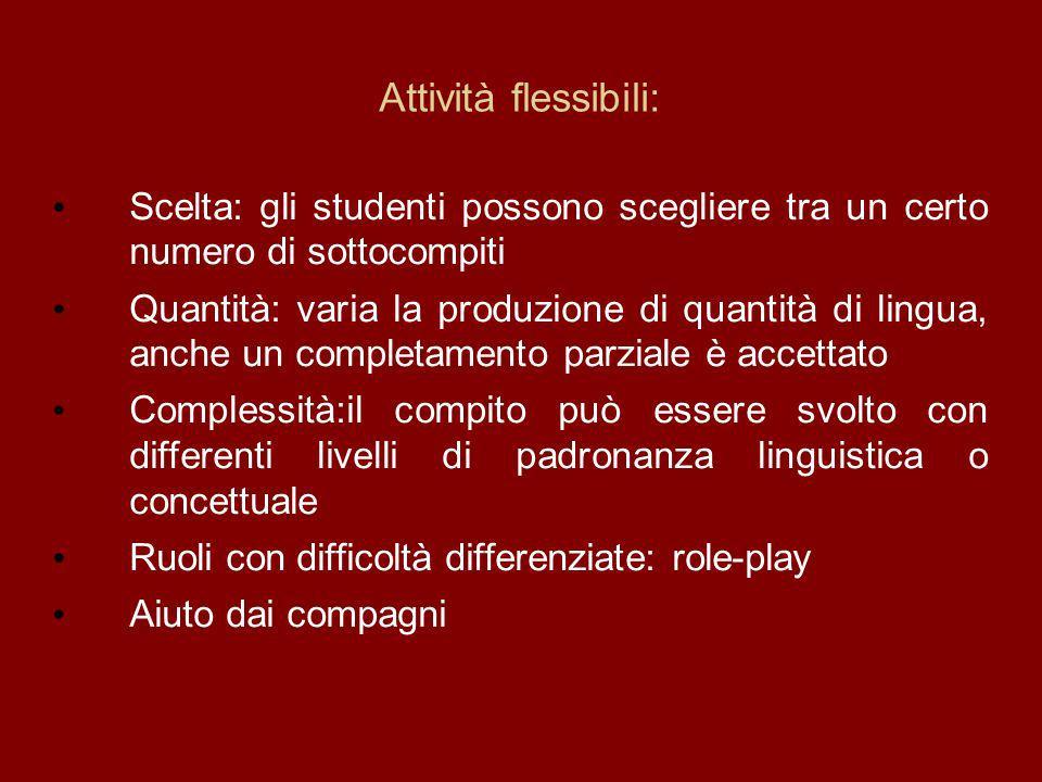 Attività flessibili: Scelta: gli studenti possono scegliere tra un certo numero di sottocompiti.