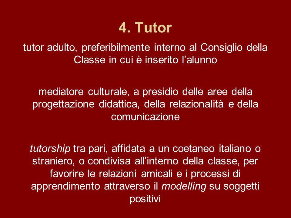 4. Tutor tutor adulto, preferibilmente interno al Consiglio della Classe in cui è inserito l'alunno.