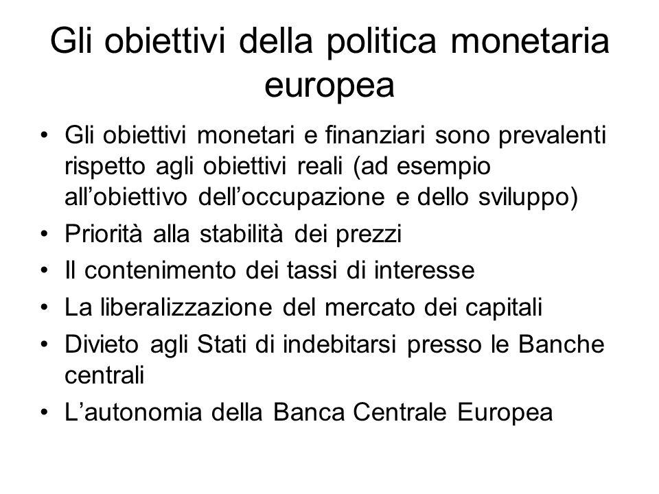 Gli obiettivi della politica monetaria europea