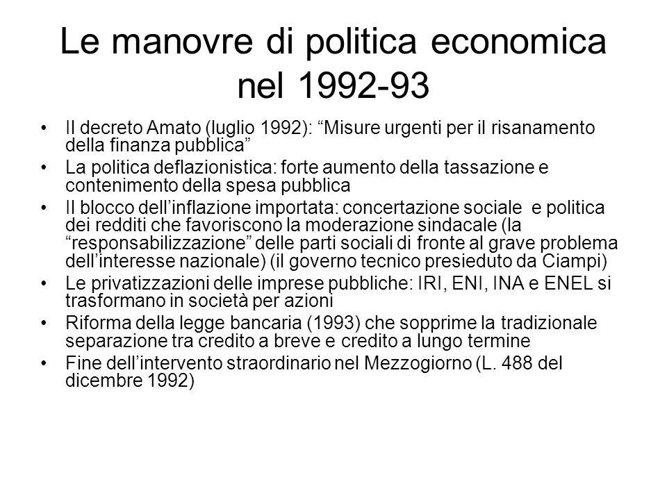 Le manovre di politica economica nel 1992-93
