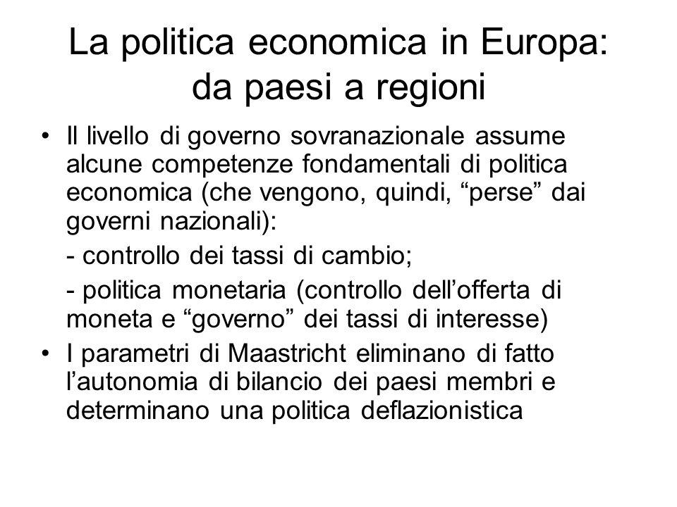 La politica economica in Europa: da paesi a regioni