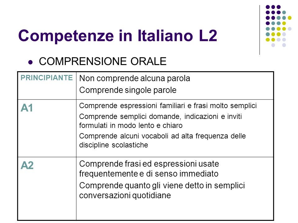 Competenze in Italiano L2