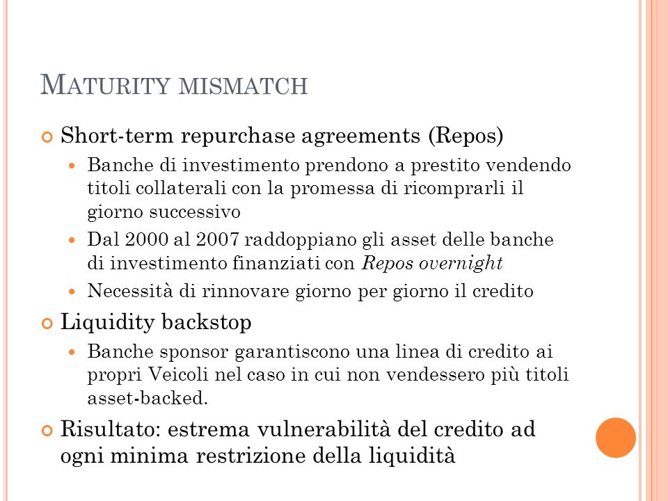 Maturity mismatch Short-term repurchase agreements (Repos)