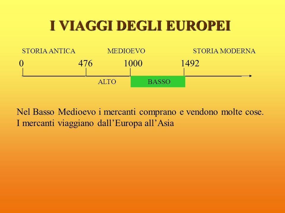 I VIAGGI DEGLI EUROPEI STORIA ANTICA MEDIOEVO STORIA MODERNA. 0 476 1000 1492.
