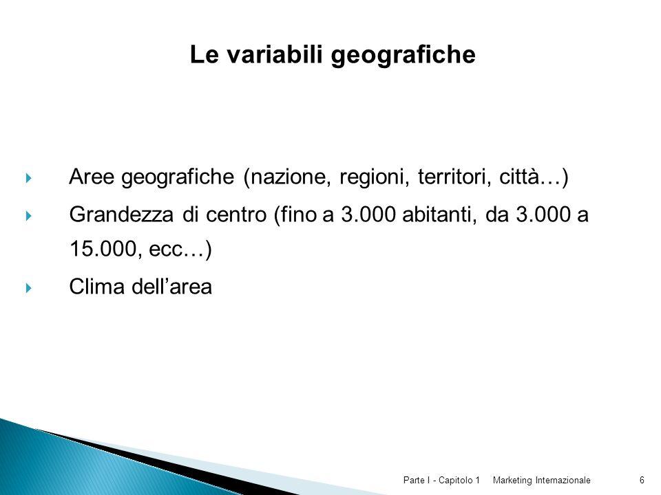 Le variabili geografiche