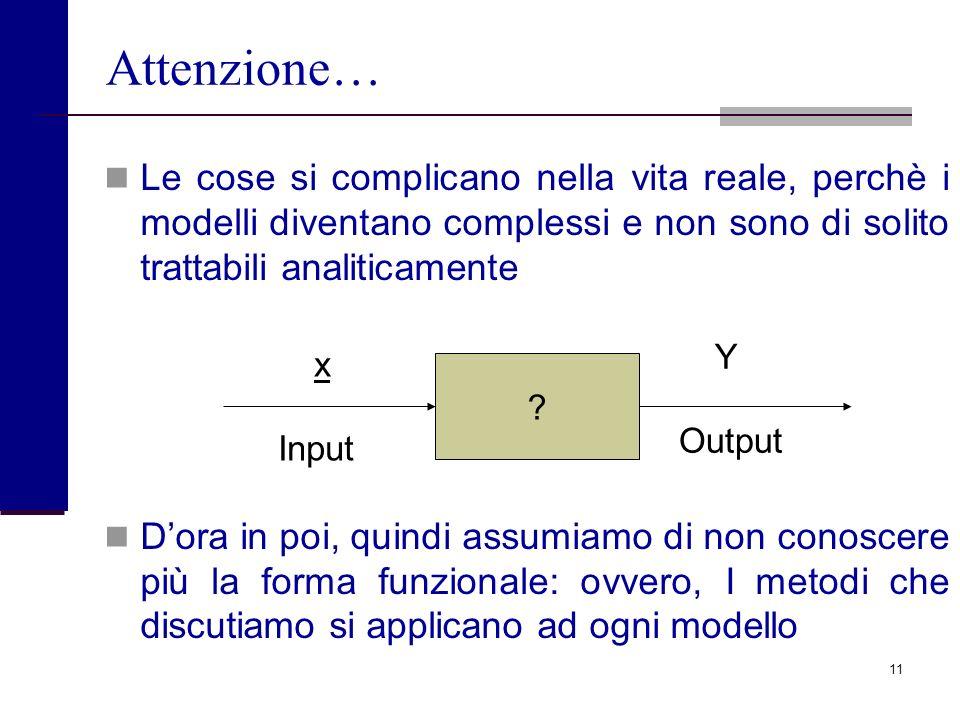 Attenzione… Le cose si complicano nella vita reale, perchè i modelli diventano complessi e non sono di solito trattabili analiticamente.