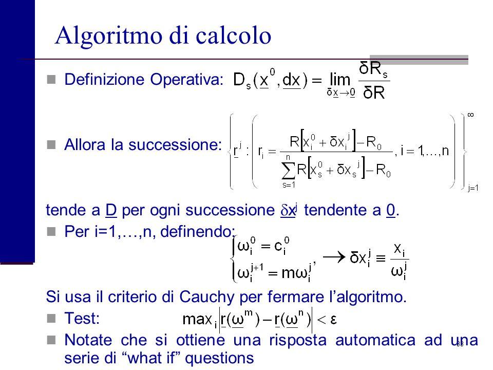Algoritmo di calcolo Definizione Operativa: Allora la successione: