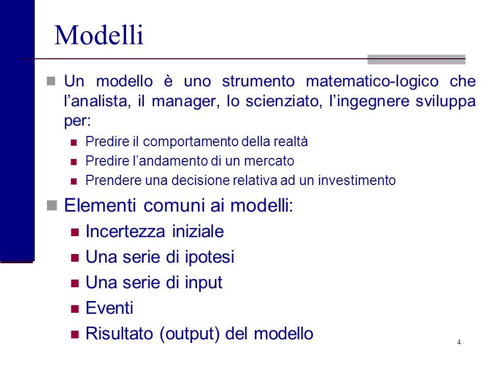 Modelli Elementi comuni ai modelli: Incertezza iniziale