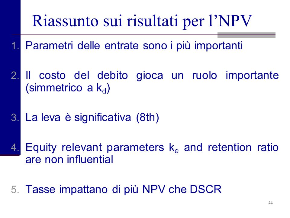 Riassunto sui risultati per l'NPV