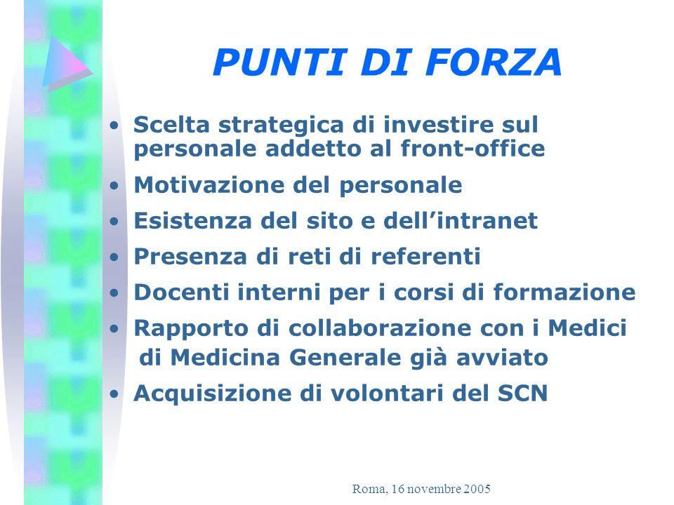 PUNTI DI FORZA Scelta strategica di investire sul personale addetto al front-office. Motivazione del personale.