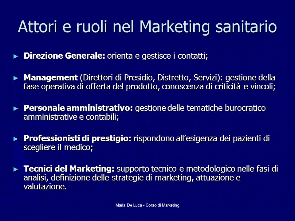 Attori e ruoli nel Marketing sanitario