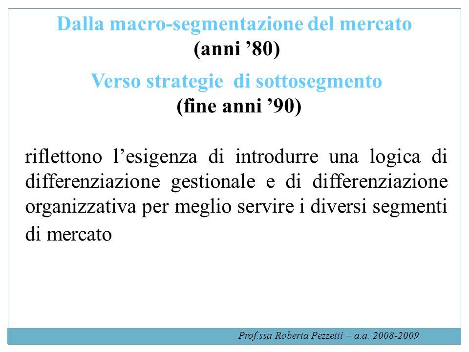 Dalla macro-segmentazione del mercato Verso strategie di sottosegmento