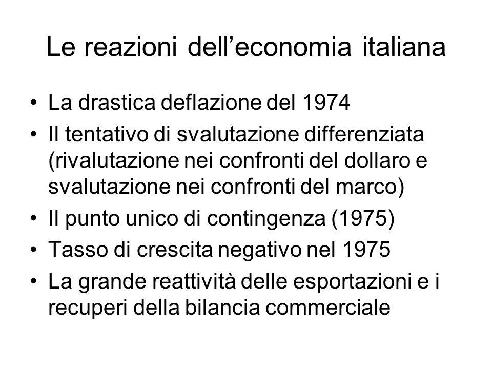 Le reazioni dell'economia italiana