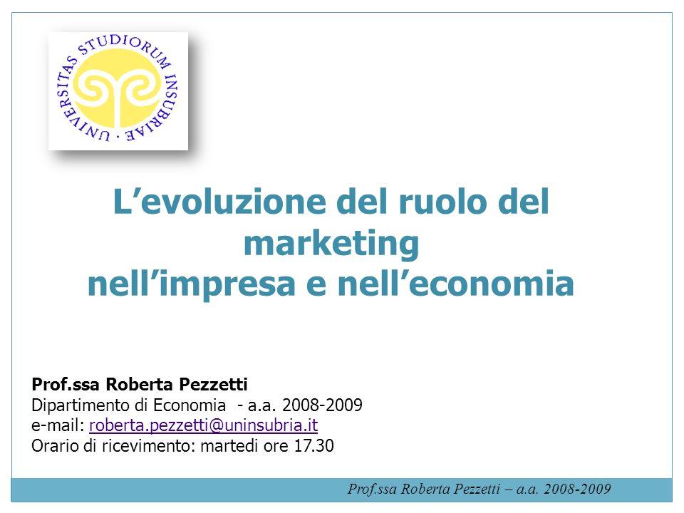 L'evoluzione del ruolo del marketing nell'impresa e nell'economia