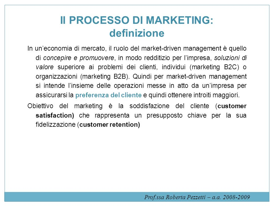 Il PROCESSO DI MARKETING: