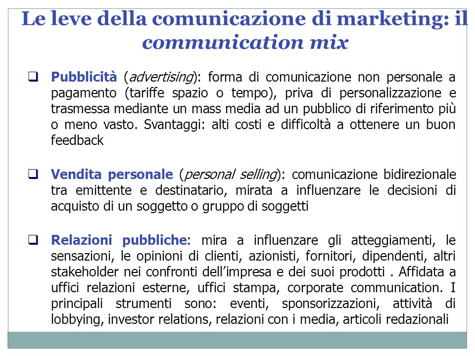 Le leve della comunicazione di marketing: il communication mix