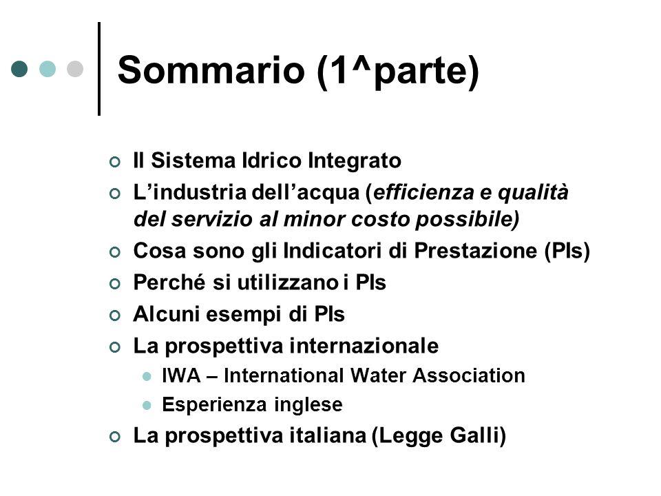 Sommario (1^parte) Il Sistema Idrico Integrato