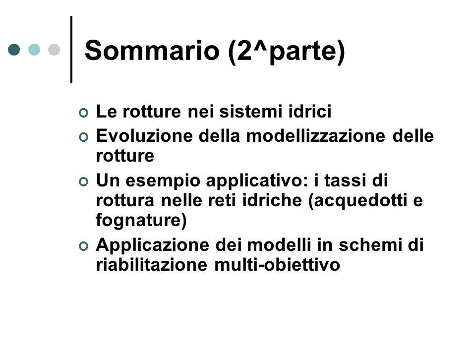 Sommario (2^parte) Le rotture nei sistemi idrici