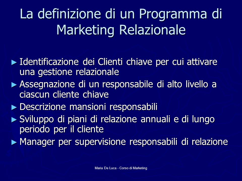 La definizione di un Programma di Marketing Relazionale