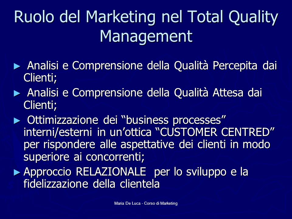 Ruolo del Marketing nel Total Quality Management