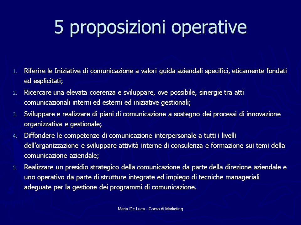 5 proposizioni operative