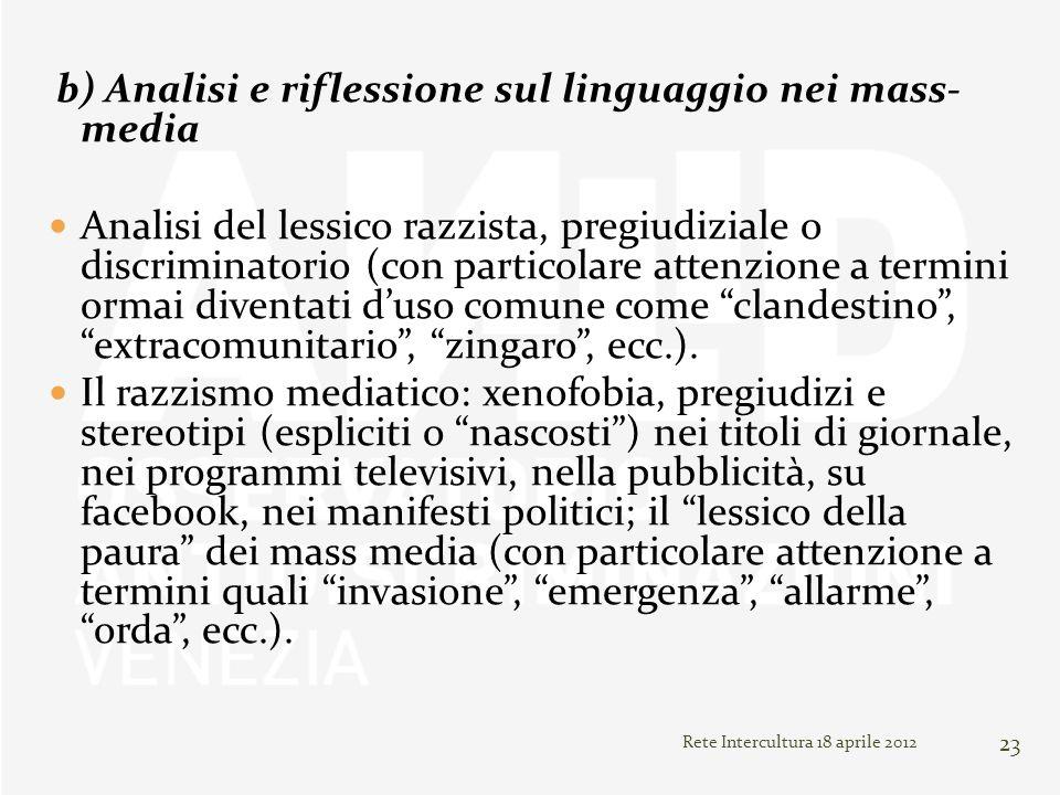 b) Analisi e riflessione sul linguaggio nei mass- media
