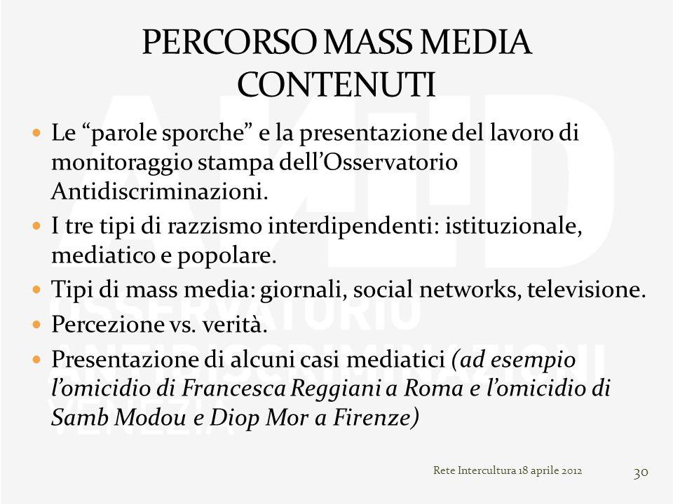 PERCORSO MASS MEDIA CONTENUTI