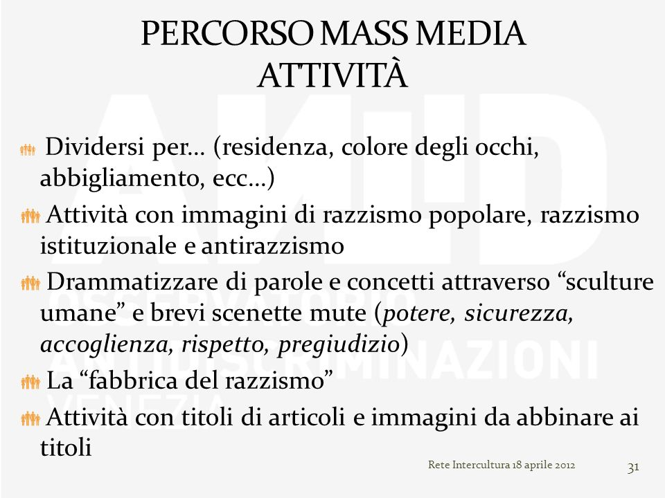 PERCORSO MASS MEDIA ATTIVITÀ