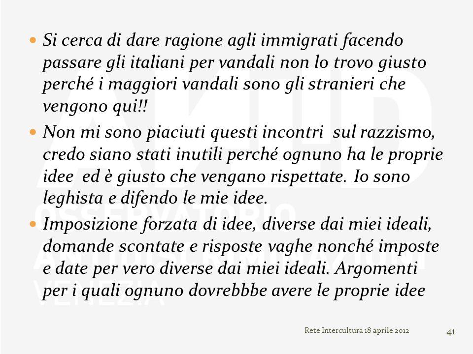 Si cerca di dare ragione agli immigrati facendo passare gli italiani per vandali non lo trovo giusto perché i maggiori vandali sono gli stranieri che vengono qui!!
