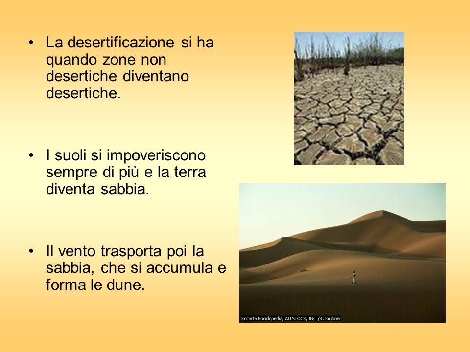 La desertificazione si ha quando zone non desertiche diventano desertiche.