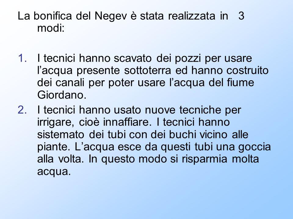 La bonifica del Negev è stata realizzata in 3 modi: