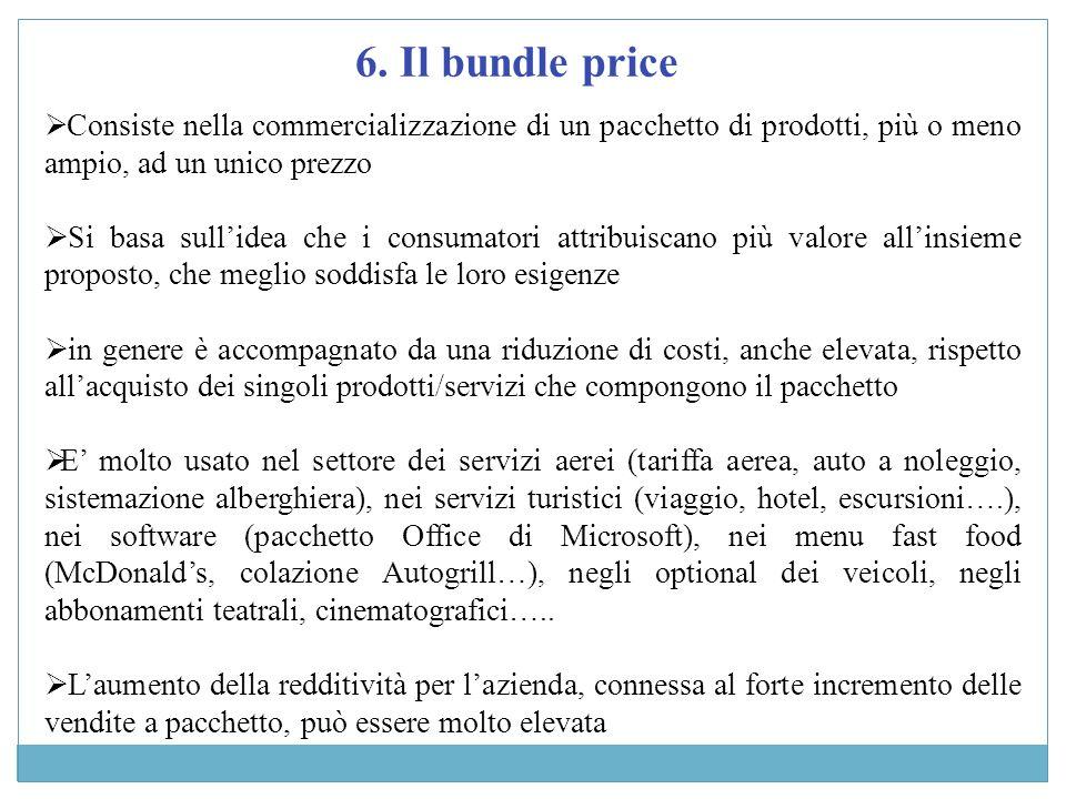 6. Il bundle price Consiste nella commercializzazione di un pacchetto di prodotti, più o meno ampio, ad un unico prezzo.