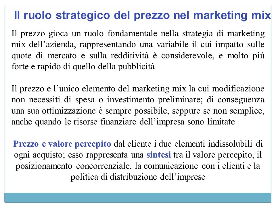 Il ruolo strategico del prezzo nel marketing mix