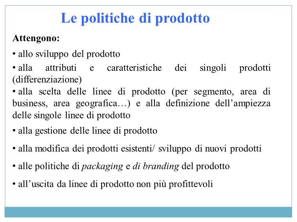 Le politiche di prodotto