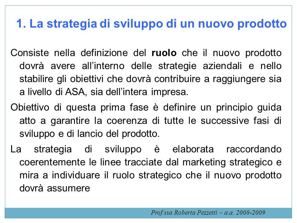 1. La strategia di sviluppo di un nuovo prodotto