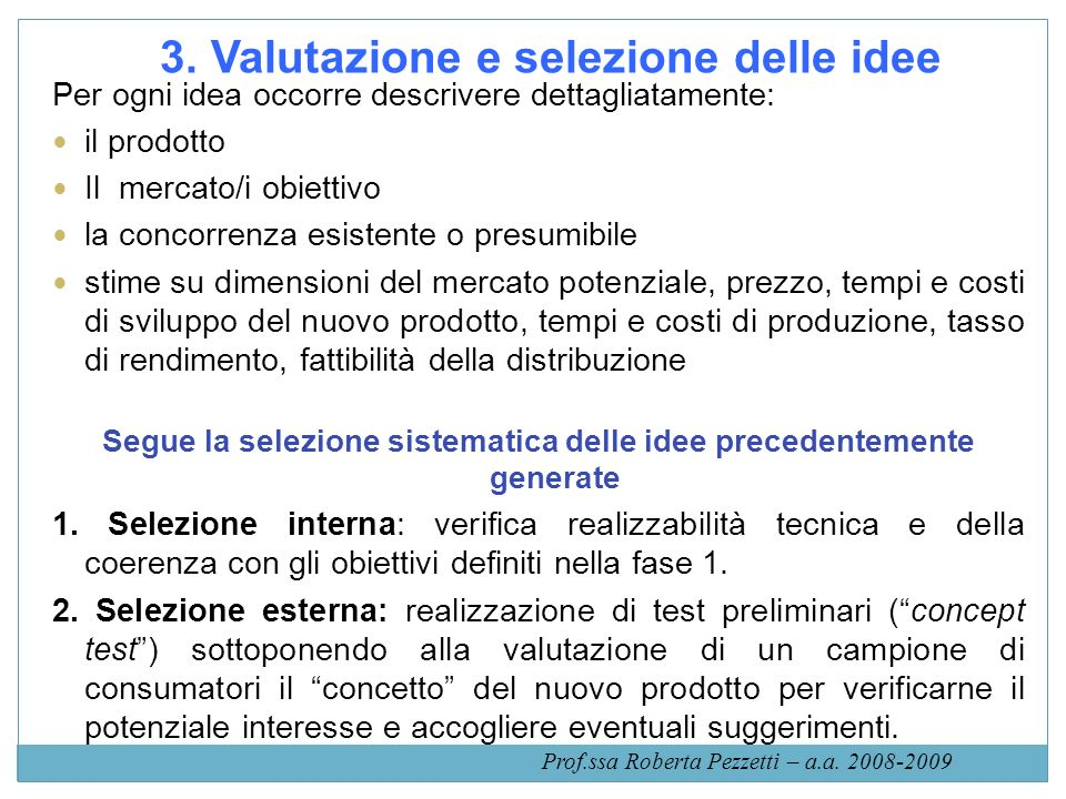 3. Valutazione e selezione delle idee