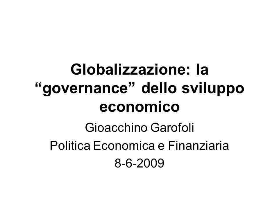 Globalizzazione: la governance dello sviluppo economico