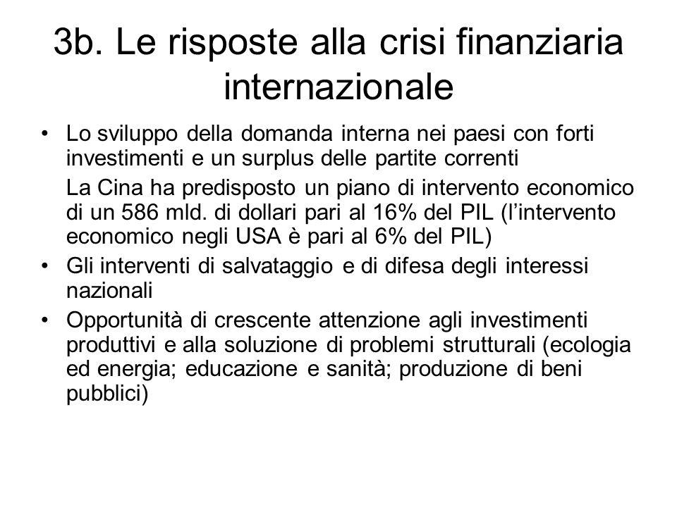 3b. Le risposte alla crisi finanziaria internazionale
