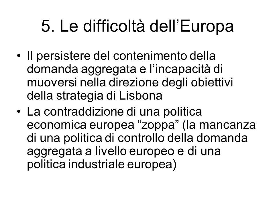 5. Le difficoltà dell'Europa